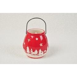 Portacandela natalizio ceramica 12x12 H 12