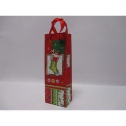 Borsa carta natale con manici raso per bottiglia 12.7x8.3 H 36