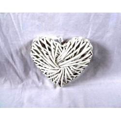 Cuore bianco legno intrecciato 20x20x6