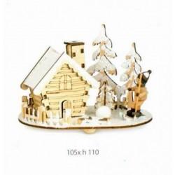 Paesaggio natalizio in legno 10.5x11