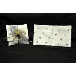 Sacchetto forma bustina cotone con stampa ancore 10x9 (chiusa)