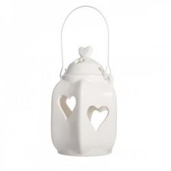 Lanterna bianca traforo cuoricini CM 18 con manico