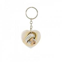 Portachiavi cuore in resina con immagine Madonnina CM 4