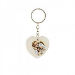 Portachiavi cuore in resina con immagine Sacra Famiglia CM 4