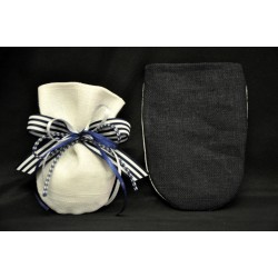 Sacchetto bicolore bianco e blu con base tonda 9x12