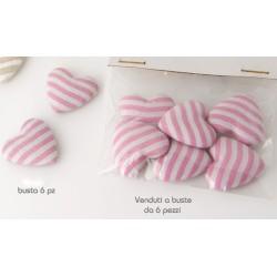 Set 6 pezzi cuore tessuto con adesivo riga bianca e rosa