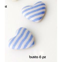 Set 6 pezzi cuore tessuto con adesivo riga bianca e azzurra