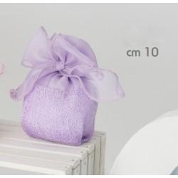 Sacchetto organza con fiocco e base tela CM 10