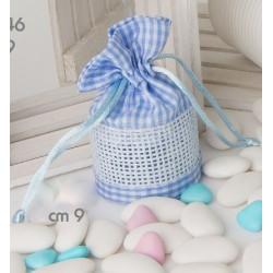 Sacchetto a cestino scacco bianco e azzurro CM 9