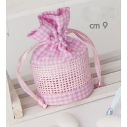 Sacchetto a cestino scacco bianco e rosa CM 9