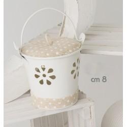 Secchiello latta bianco con coperchio e passamaneria telo pois CM 10 (manico compreso)