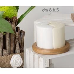 Sale e pepe ceramica bianca e panna con base legno DIAM 8 H 5 con scatola