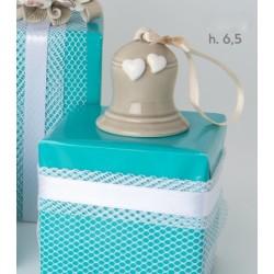 Campanella ceramica tortora con cuoricino H 6.5 con scatola