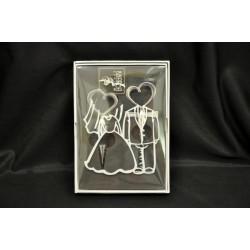 Set tappo e tirabouchon in metallo con scatola disegno sposi