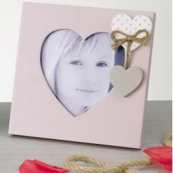 Portafoto legno con applicazione, forma interna cuore H 14
