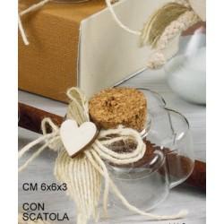 Ampolla vetro forma fiore con applicazioni e tappo sughero CM 6x6 H 3 con scatola