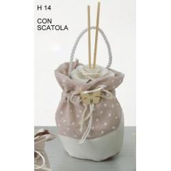 Profumatore ceramica con sacco pois, applicazione legno e scatola H 14