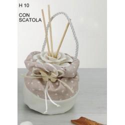 Profumatore ceramica con sacco pois, applicazione legno e scatola H 10