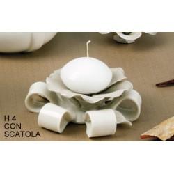 Ninfea portacandela ceramica H 3 con scatola