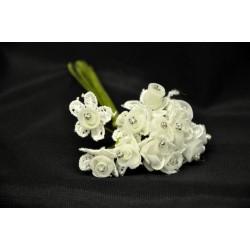 Rosa girata mignon su base fiore pizzo con strass. Mazzo 12 pz