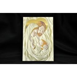 Icona legno stampato con immagine Sacra Famiglia CM 11x16 con scatola