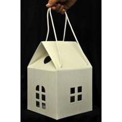 Scatola cartone trapuntato forma casa con due manici. CM 20x20 H 30