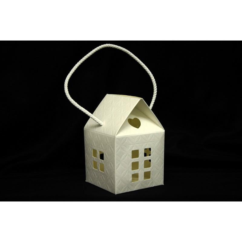Scatola cartoncino trapuntato forma casa con manico cm for Casa a forma di v