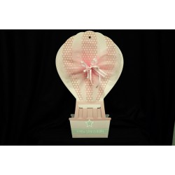 Mongolfiera in cartone rosa da appendere. Base CM 10x13 H 40