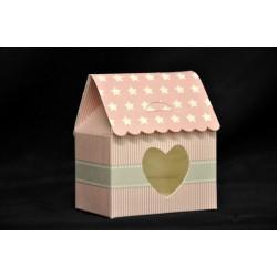 Scatolina cartoncino forma casetta rosa con stelline. CM 6x4 H 7