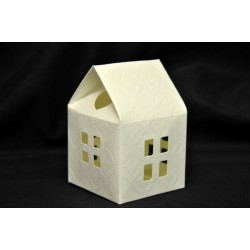 Scatolina cartoncino stampa trapuntata forma casetta CM 5.5x5.5 H 8