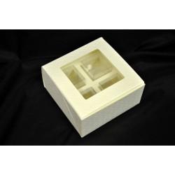 Scatola cartoncino trapuntato per 4 degustazioni (pvc CM 4x4x4) Scatola esterna: CM 12x12 H 6