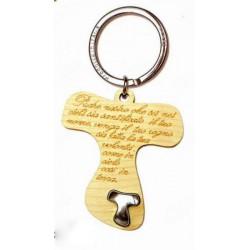 Portachiavi legno con preghiera incisa e placchetta forma tao. CM 5 H 9