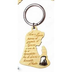 Portachiavi legno con preghiera incisa e placchetta forma madonnina. CM 5 H 9