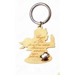 Portachiavi legno con preghiera incisa e placchetta forma angelo. CM 5 H 9
