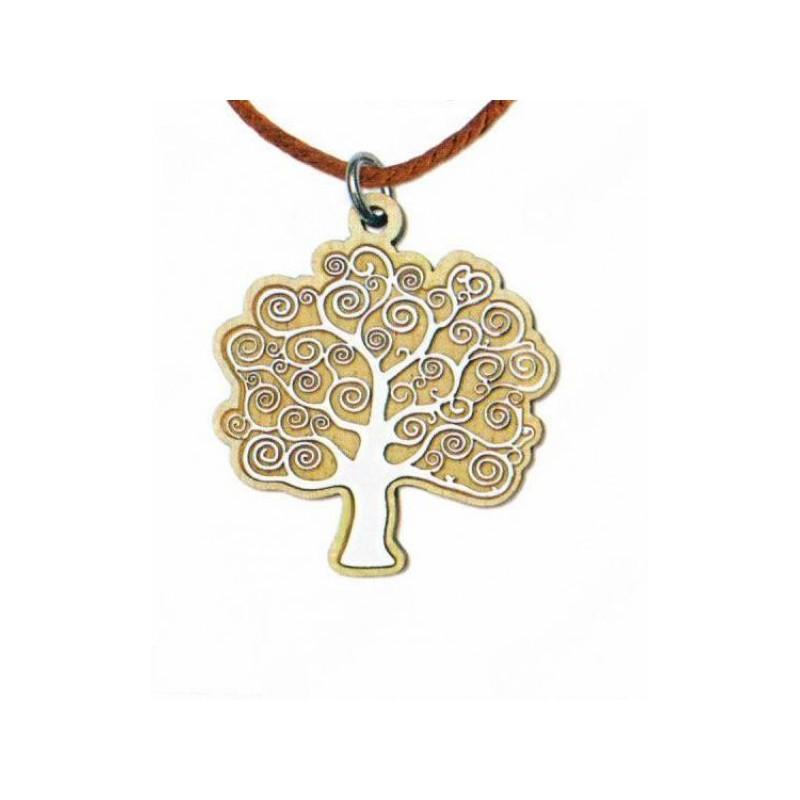 Eccezionale Ciondolo in legno con placca albero della vita CM 4x5 - Assisi  HH78