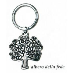 Portachiavi con albero della fede in ottone con bagno in argento. CM 4 H 8