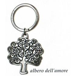 Portachiavi con albero dell'amore in ottone con bagno in argento. CM 4 H 8