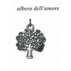 Ciondolo con albero dell'amore in ottone con bagno in argento. CM 4x3