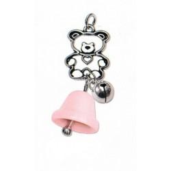 Campanella porcellana rosa con orsetto in ottone bagno argento e campanellino. CM 7