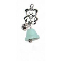 Campanella porcellana azzurro con orsetto in ottone bagno argento e campanellino. CM 7