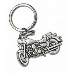 Portachiavi in ottone con bagno argento forma moto. CM 8