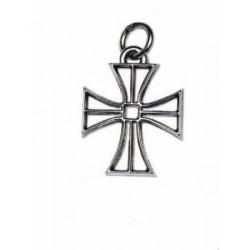 Ciondolo croce in ottone con bagno argento. CM 4