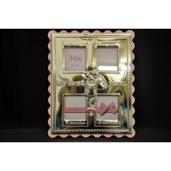 """Portafoto argento """"My First Year"""" con retro legno. 4 foto CM 5.5x6 TOT CM 21x27"""