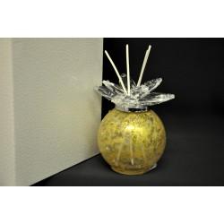 Profumatore vetro tondo oro con mandorle cristallo. H 11 con scatola