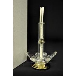 Profumatore vetro cilindro vetro con placca e cristallo. H 15 con scatola