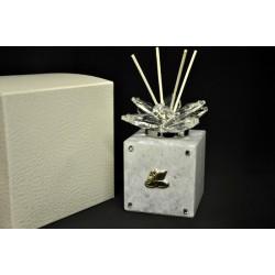 Profumatore vetro e cristallo con placca 50° CM 5.5x5.5 H 12 con scatola