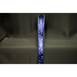 """Nastro doppio raso blu con scritta """"Auguri"""" argento. MM 15 MT 25"""