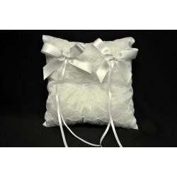 Cuscino portafedi ricamato con doppio fiocco CM 14x14 MADE IN ITALY