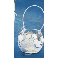 Portacandela vetro con sfera metallo traforo fiori con manico Diam. 8.5