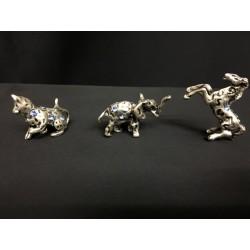 Animali mignon in argento con strass azzurri. CM 2-3